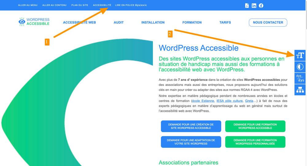 menu accessible handicap
